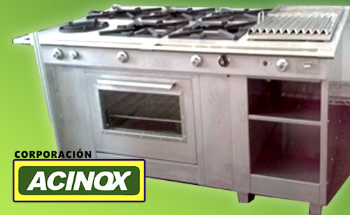 Cocina Industrial con 5 hornillas 1 hornilla wok con parrilla