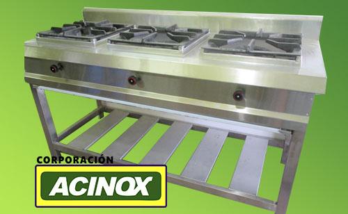 Cocina Industrial 3 Hornillas 40cm x 40 cm